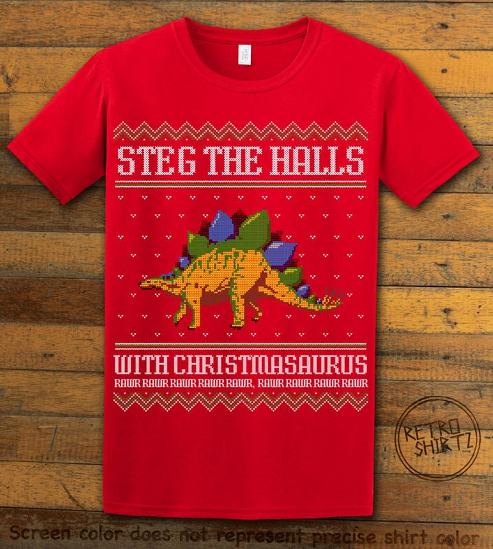 Steg The Halls Graphic T-Shirt - red shirt design