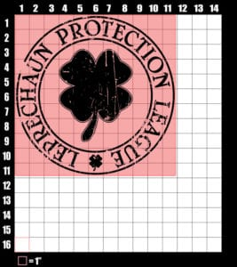 These are the graphic design dimensions for the St Patricks Day Shirts: Leprechaun Protection League