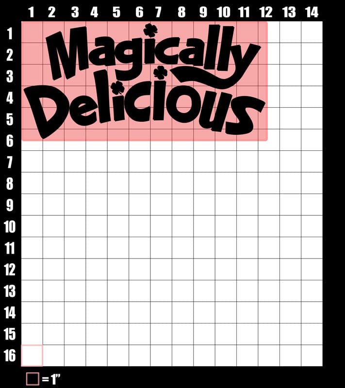 These are the graphic design dimensions for the St Patricks Day Shirts: Magically Delicious