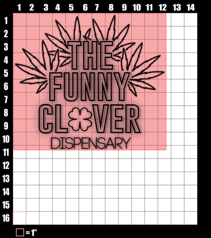 These are the graphic design dimensions for the St Patricks Day Shirts: The Funny Clover Dispensary Neon