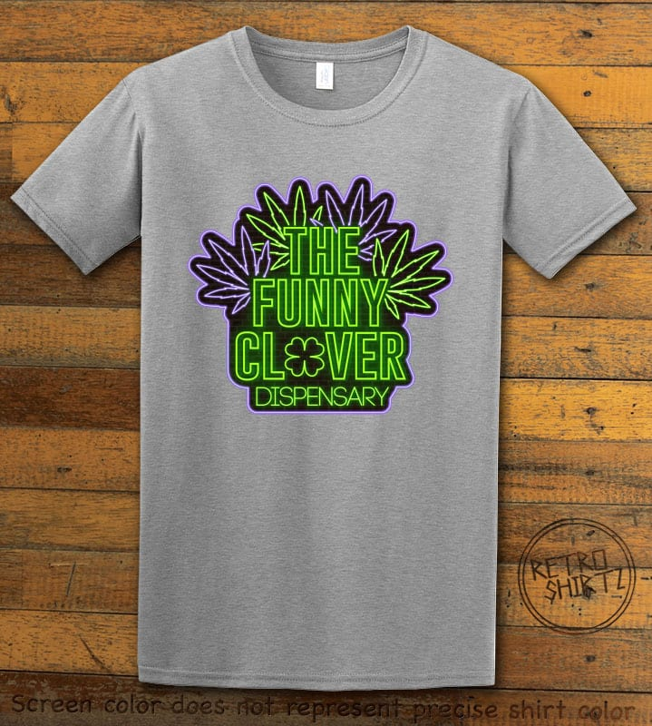 This is the main graphic design on a grey shirt for the St Patricks Day Shirts: The Funny Clover Dispensary Neon