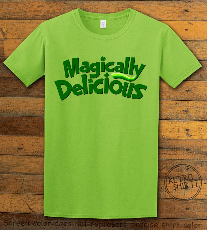 This is the main graphic design on a lime shirt for the St Patricks Day Shirts: Magically Delicious