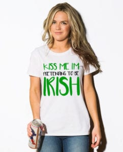 This is the main model photo for the St Patricks Day Shirts: Kiss Me I'm Pretending to be Irish