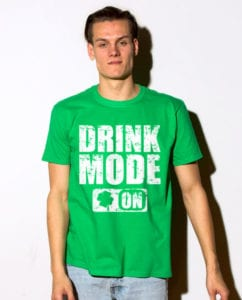 This is the main model photo for the St Patricks Day Shirts: Drink Mode On
