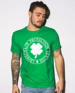 This is the main model photo for the St Patricks Day Shirts: Leprechaun Protection League
