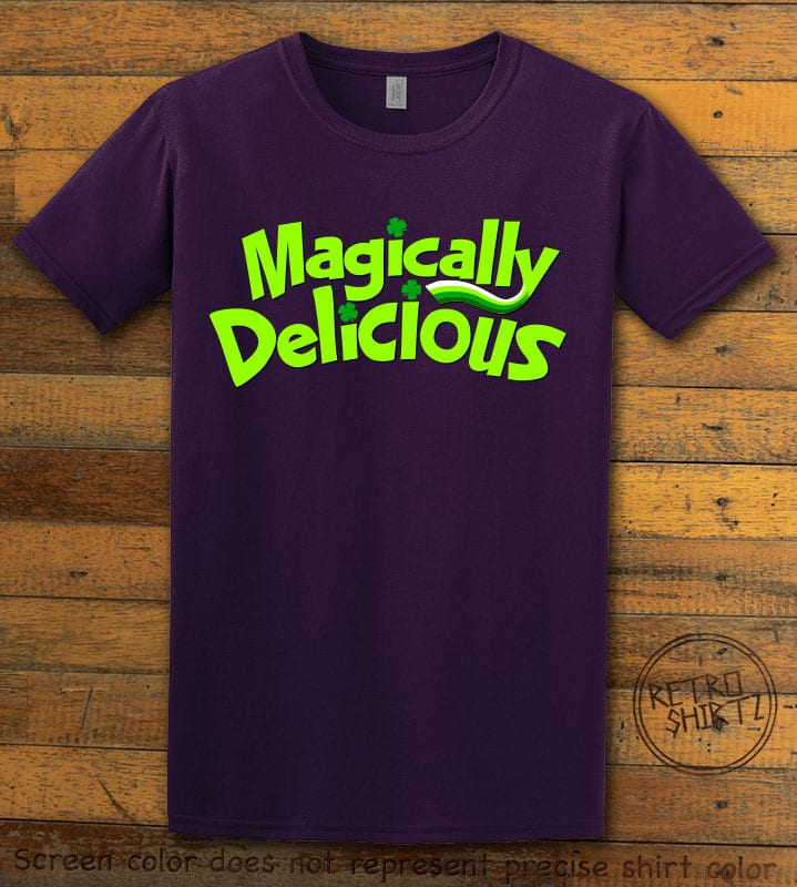 This is the main graphic design on a purple shirt for the St Patricks Day Shirts: Magically Delicious