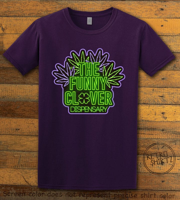 This is the main graphic design on a purple shirt for the St Patricks Day Shirts: The Funny Clover Dispensary Neon