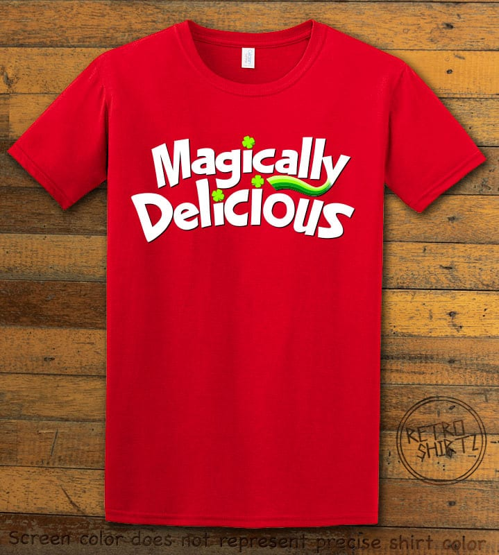 This is the main graphic design on a red shirt for the St Patricks Day Shirts: Magically Delicious
