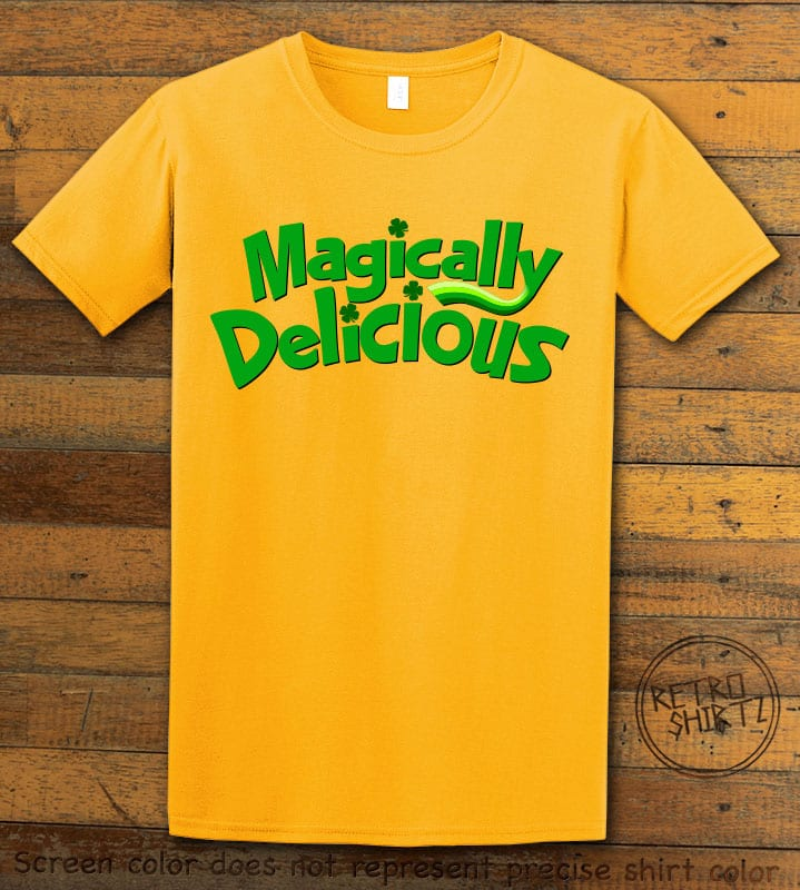 This is the main graphic design on a yellow shirt for the St Patricks Day Shirts: Magically Delicious