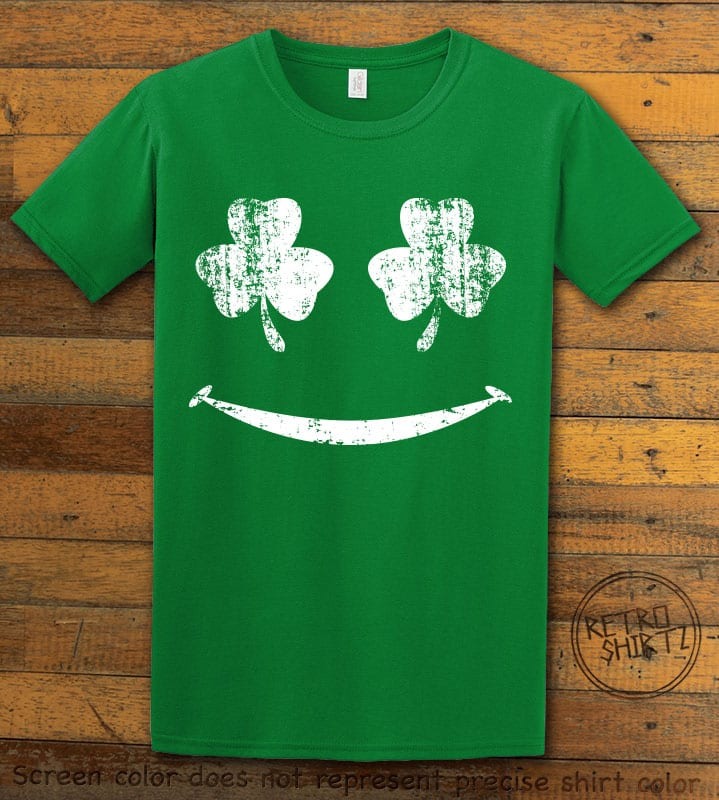 This is the main graphic design on a green shirt for the St Patricks Day Shirts: Shamrock Smiley Face