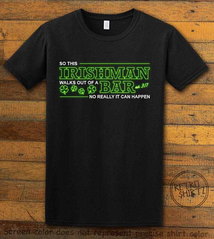 This is the main graphic design on a black shirt for the St Patricks Day Shirts: Irishman Bar