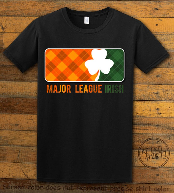 This is the main graphic design on a black shirt for the St Patricks Day Shirts: Major League Irish