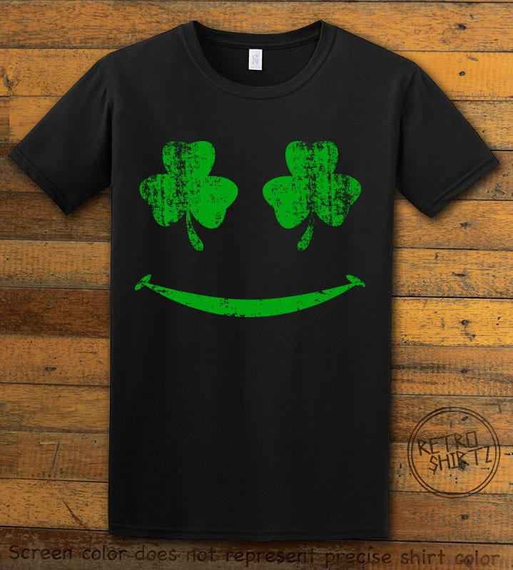 This is the main graphic design on a black shirt for the St Patricks Day Shirts: Shamrock Smiley Face