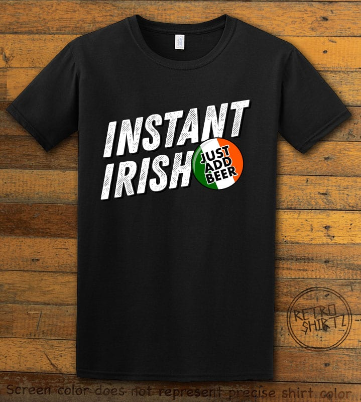 This is the main graphic design on a black shirt for the St Patricks Day Shirts: Instant Irish