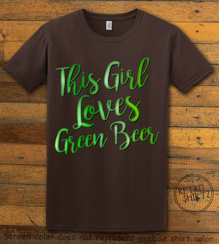 This is the main graphic design on a brown shirt for the St Patricks Day Shirts: This Girl Loves Green Beer