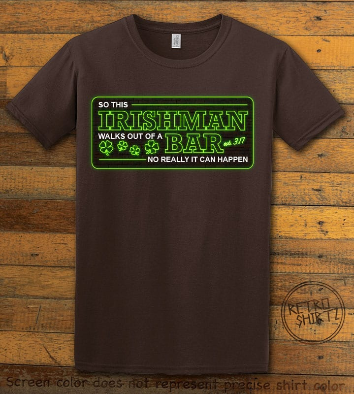 This is the main graphic design on a brown shirt for the St Patricks Day Shirts: Irishman Bar