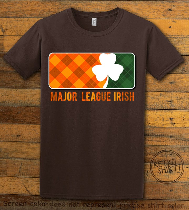 This is the main graphic design on a brown shirt for the St Patricks Day Shirts: Major League Irish