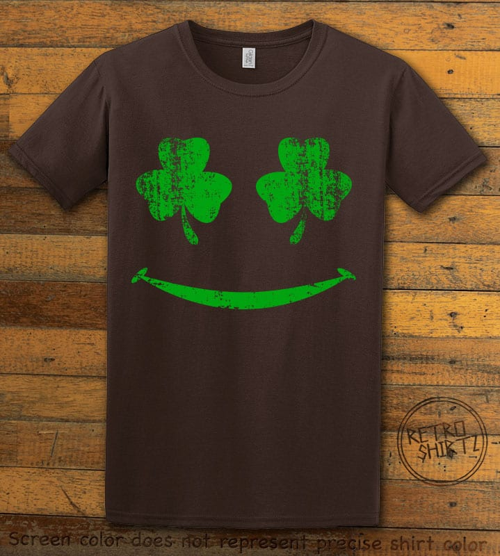 This is the main graphic design on a brown shirt for the St Patricks Day Shirts: Shamrock Smiley Face
