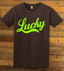 This is the main graphic design on a brown shirt for the St Patricks Day Shirts: Lucky