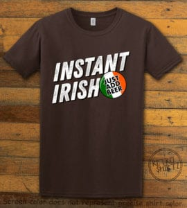 This is the main graphic design on a brown shirt for the St Patricks Day Shirts: Instant Irish