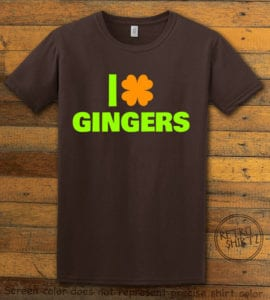 This is the main graphic design on a brown shirt for the St Patricks Day Shirts: I Love Gingers