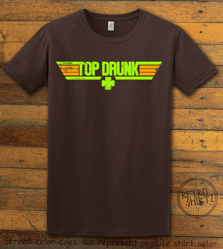 This is the main graphic design on a brown shirt for the St Patricks Day Shirts: Top Drunk