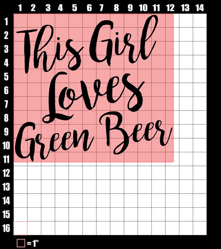 These are the graphic design dimensions for the St Patricks Day Shirts: This Girl Loves Green Beer
