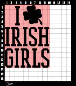 These are the graphic design dimensions for the St Patricks Day Shirts: I Love Irish Girls