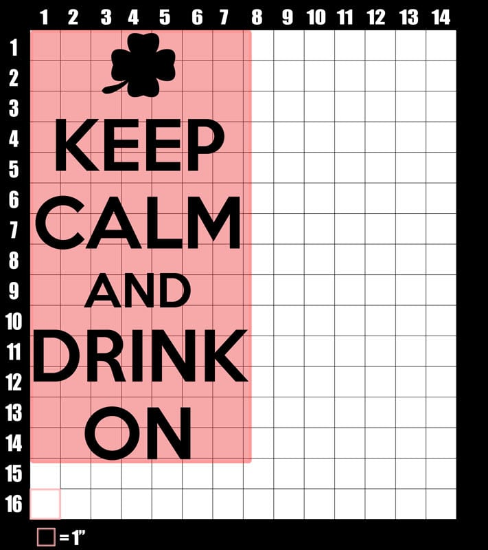 These are the graphic design dimensions for the St Patricks Day Shirts: Keep calm and Drink On