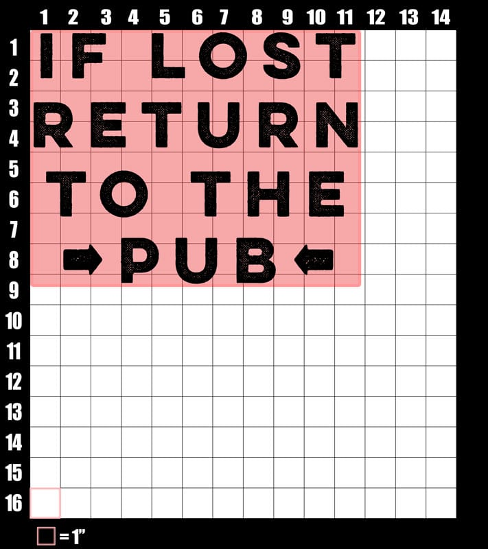 These are the graphic design dimensions for the St Patricks Day Shirts: If Lost Return to Pub