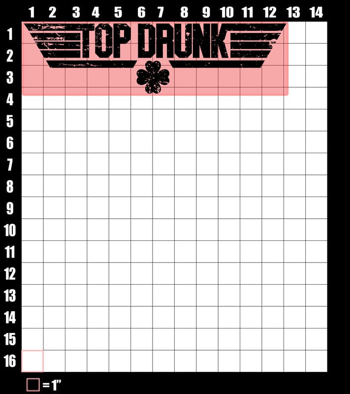 These are the graphic design dimensions for the St Patricks Day Shirts: Top Drunk