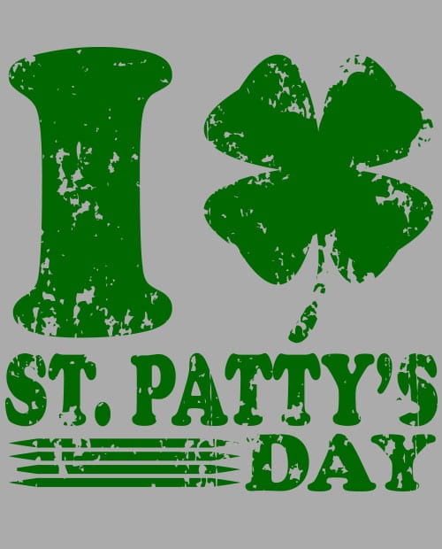 This is the main graphic design for the St Patricks Day Shirts: I Love St. Patty's Day