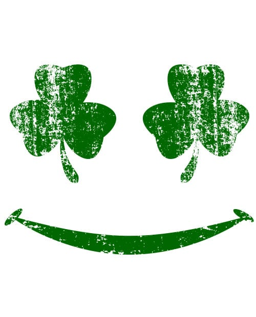 This is the main graphic design for the St Patricks Day Shirts: Shamrock Smiley Face