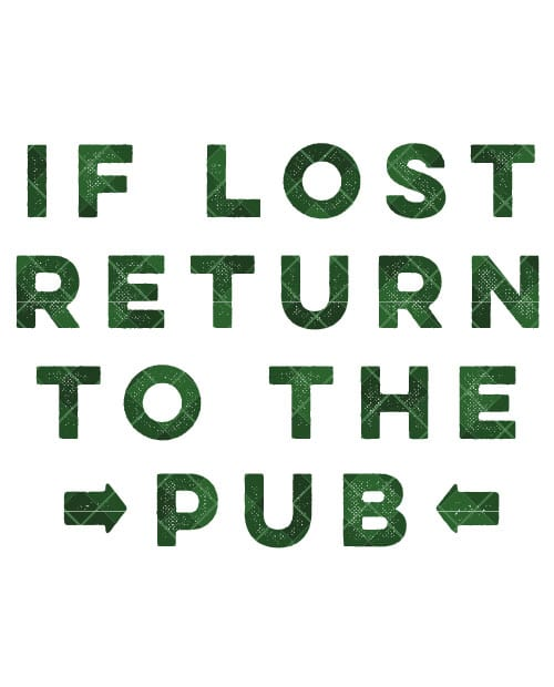 This is the main graphic design for the St Patricks Day Shirts: If Lost Return to Pub