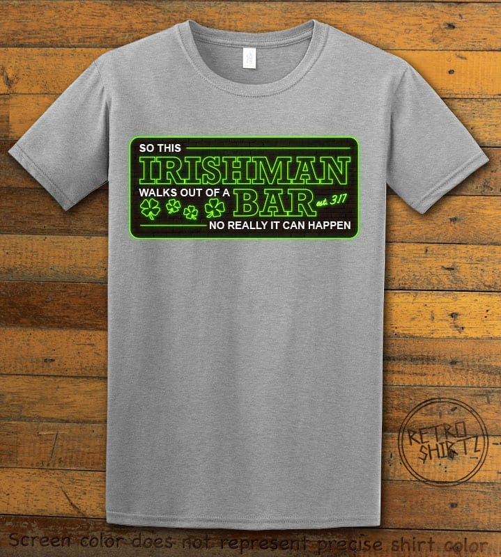 This is the main graphic design on a grey shirt for the St Patricks Day Shirts: Irishman Bar