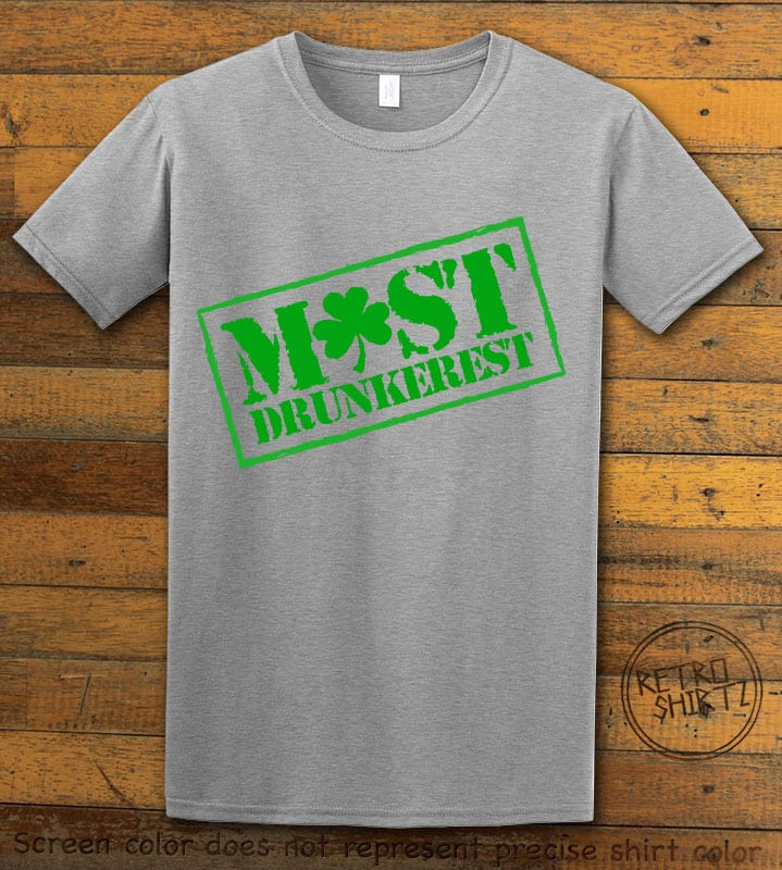 This is the main graphic design on a gray shirt for the St Patricks Day Shirts: Most Drunkerest