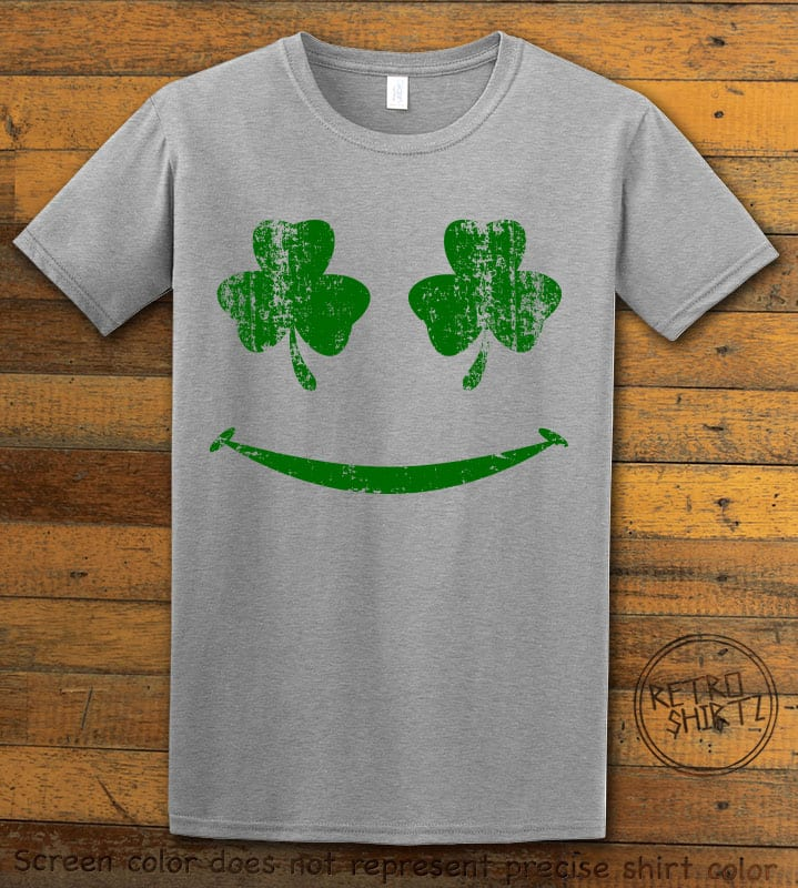 This is the main graphic design on a grey shirt for the St Patricks Day Shirts: Shamrock Smiley Face
