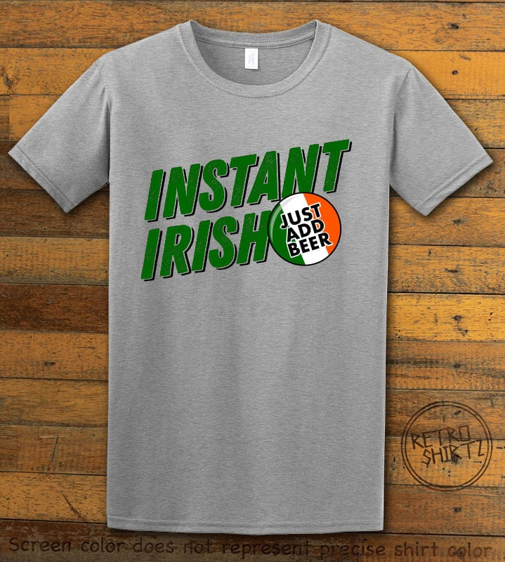 This is the main graphic design on a gray shirt for the St Patricks Day Shirts: Instant Irish