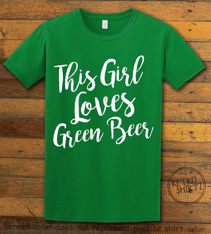This is the main graphic design on a green shirt for the St Patricks Day Shirts: This Girl Loves Green Beer