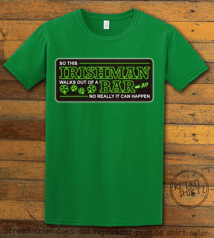 This is the main graphic design on a green shirt for the St Patricks Day Shirts: Irishman Bar