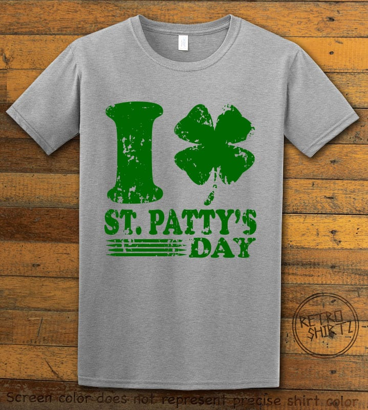 This is the main graphic design on a grey shirt for the St Patricks Day Shirts: I Love St. Patty's Day