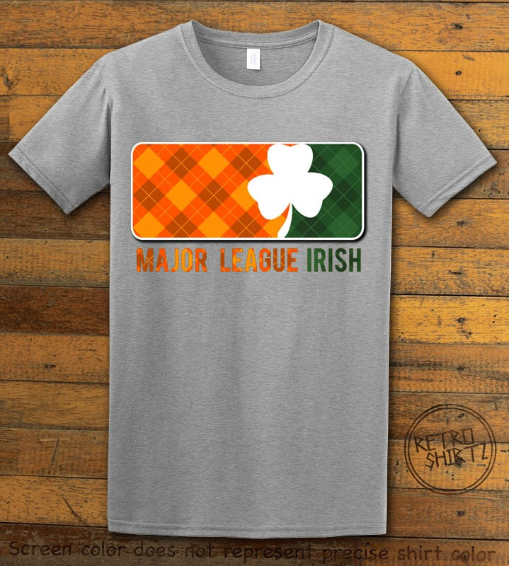 This is the main graphic design on a grey shirt for the St Patricks Day Shirts: Major League Irish