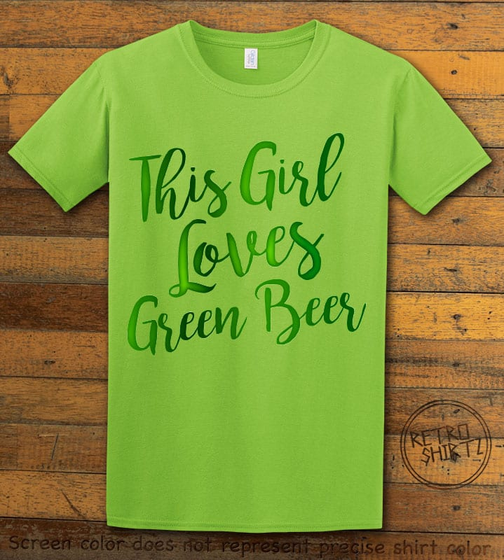 This is the main graphic design on a lime shirt for the St Patricks Day Shirts: This Girl Loves Green Beer