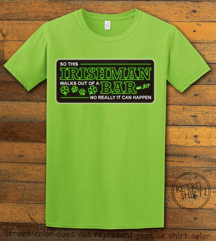 This is the main graphic design on a lime shirt for the St Patricks Day Shirts: Irishman Bar