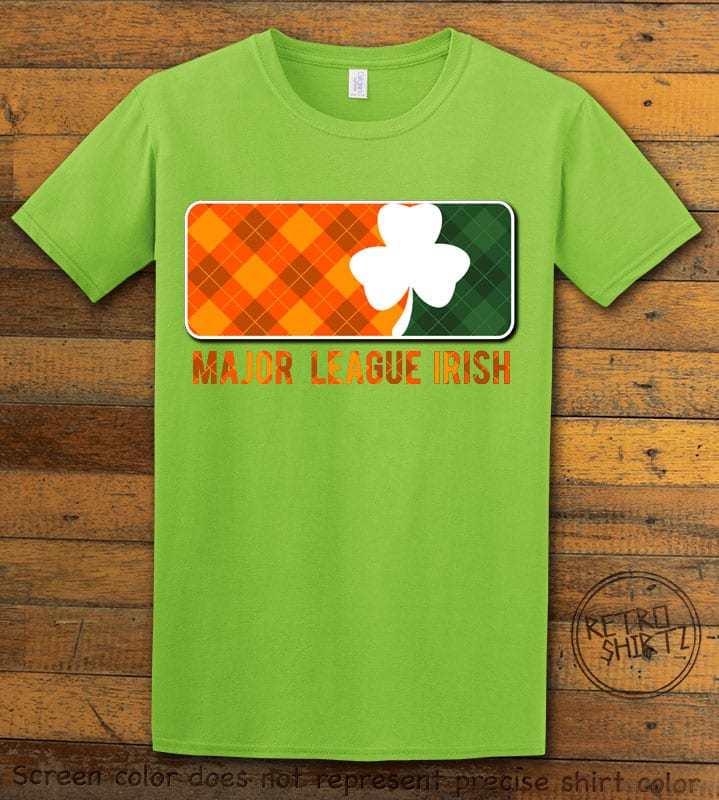 This is the main graphic design on a lime shirt for the St Patricks Day Shirts: Major League Irish