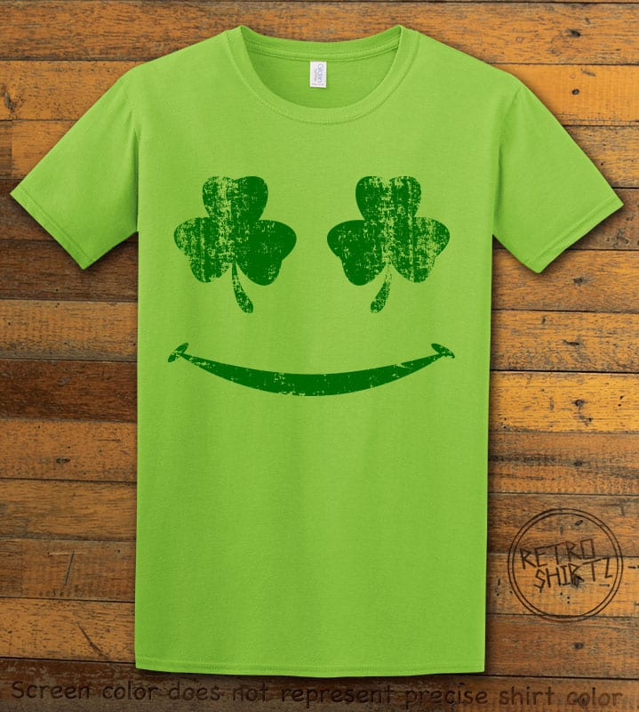 This is the main graphic design on a lime shirt for the St Patricks Day Shirts: Shamrock Smiley Face