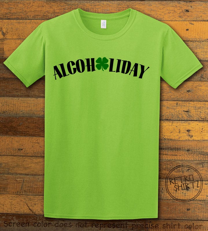 This is the main graphic design on a lime shirt for the St Patricks Day Shirts: Alcoholiday