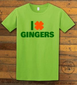 This is the main graphic design on a lime shirt for the St Patricks Day Shirts: I Love Gingers