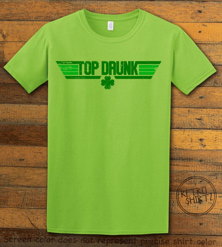 This is the main graphic design on a lime shirt for the St Patricks Day Shirts: Top Drunk