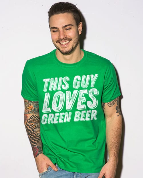 This is the main model photo for the St Patricks Day Shirts: This Guy Loves Green Beer